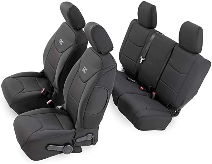 Tailored Front Pair Black Waterproof Seat Covers For Toyota Land Cruiser 2009+
