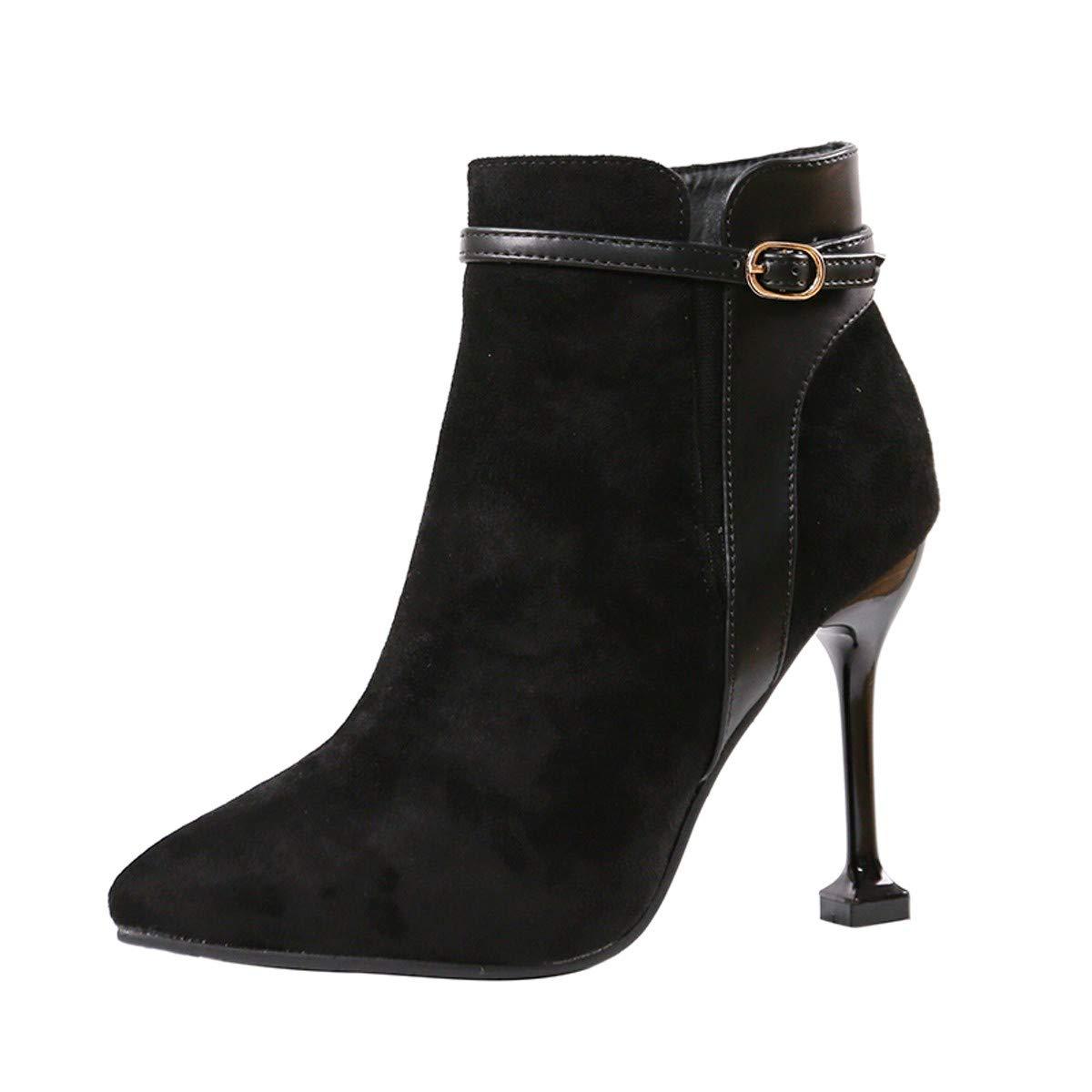 LBTSQ-Fashion Tops Wildleder Heften Spitze Stiletto Heels 10Cm Gürtelschnallen Reißverschlüsse Stiefel Nackt-Stiefel