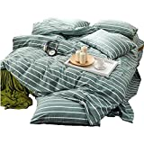 Green Duvet Cover Set Queen Striped Duvet Cover Cotton Luxury Bedding Set Girls Boys Duvet Cover Set Super Soft Washed Cotton Bedding Cover Set for Kids Adults with Zipper Closure and Corner Ties
