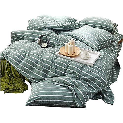 (Green Duvet Cover Set Twin Striped Duvet Cover Cotton Luxury Bedding Set Girls Boys Duvet Cover Set Super Soft Washed Cotton Bedding Cover Set for Kids Adults with Zipper Closure and Corner Ties)