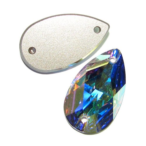 1 pc Swarovski Crystal 3230 Pear Sew-on Stone Bead Clear AB 28mm / Findings / Crystallized Element (Sew On Crystals Swarovski)