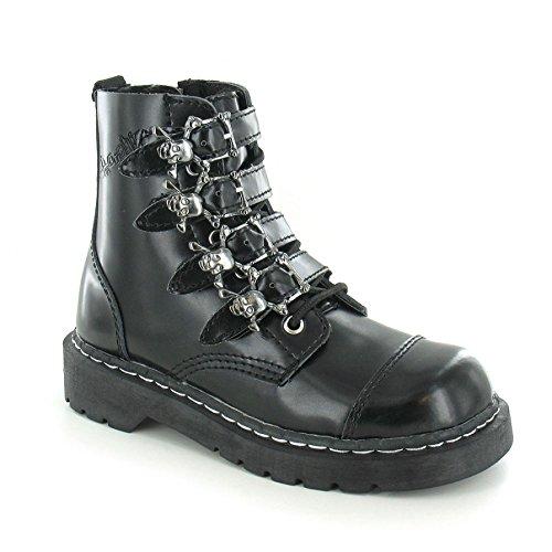 T.U.K. T2043 TUK 42 Damen New Anarchic 7 Eye-Boot-Schnalle schwarz Leder Goth Stiefel