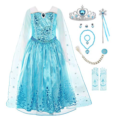 ReliBeauty Girls Sequin Princess Costume Long Sleeve Dress up with Accessories, Light Blue, 2T-3T