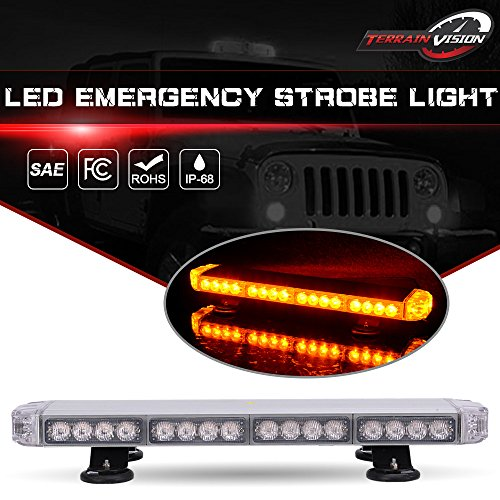 Truck Snow Plow Dodge (TERRAIN VISION 38 LED 23 Inch Amber Emergency Warning Strobe Lights Flash Directional Roof Top Led Light Bar for Snow Plow Truck Mail Carrier Pickup Truck Jeep Dodge Ram RZR SUV Silverado GMC Ford)
