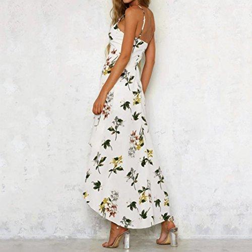 de Vestido Las Beach Blanco Mujer Caída Dragon868 Vacaciones Floral de de Vestido Verano Señoras Long Mujer Hermosa Maxi ExvwZUqCf
