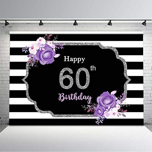 Mocsicka Happy 60th Birthday Backdrop Black and White Birthday Background Vinyl 7x5ft Purple Flower Glitter Silver 60th Birthday Photo Booth Backdrops Birthday Decorations
