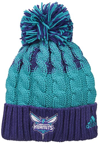 fan products of NBA Charlotte Hornets Retro Cuffed Knit With Pom, Purple/Teal, One Size