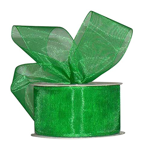 Ribbon Bazaar Sheer Organza 1-1/2 inch Emerald 100 yards 100% Nylon Ribbon