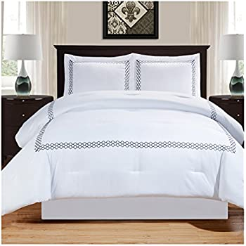 Truly Soft Everyday Hotel Border Comforter Sets 7 Piece King White