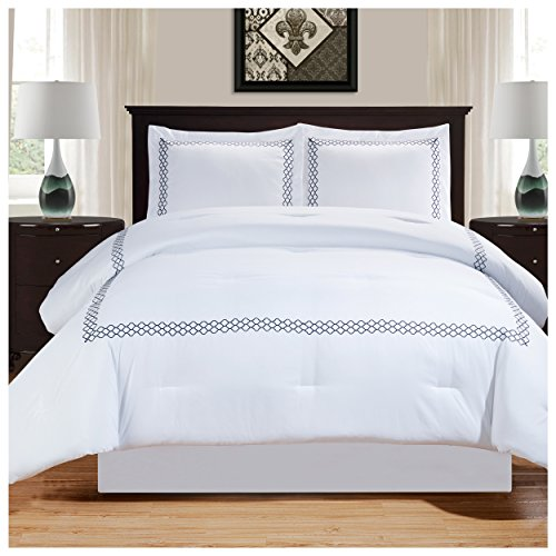 Superior Layla Trellis Embroidered Comforter Set with Pillow Shams, Luxury Hotel Bedding with Soft Microfiber Shell, All Season Down Alternative Fill - Full/Queen, White with Navy Blue (Bedding White Blue)