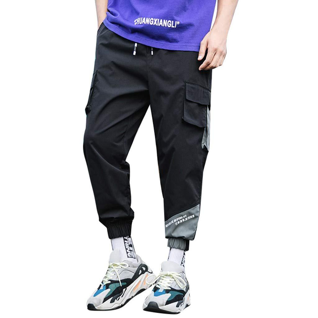 Allywit M-5XL Summer Men Casual Harem Pants Jogger Stripe Fitness Trousers Capri Linen Loose Pants Black
