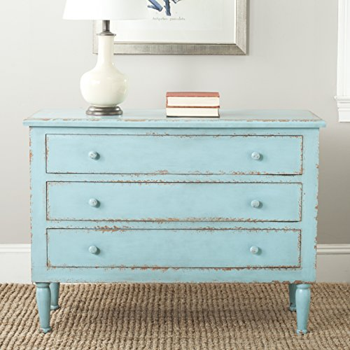 mes Collection Tablet Distressed 3 Drawer Chest, Distressed Blue (Collection 3 Drawer Dresser)