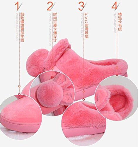 Noir L Cadeau Hiver Chaussons Peluche Taille Caolator M Coton Confortable Anti Femmes Femme dérapant Doublure Épaisse Chaussures Chaud Maison Adulte WRUnaqnwZx
