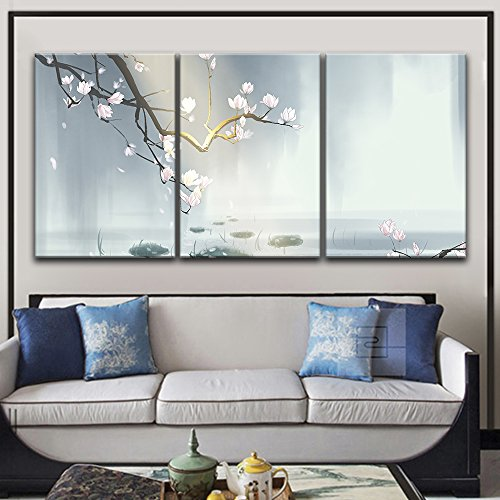 (wall26-3 Panel Canvas Wall Art - Magnolia Blossom Above The Pond in Spring - Giclee Print Gallery Wrap Modern Home Decor Ready to Hang - 24