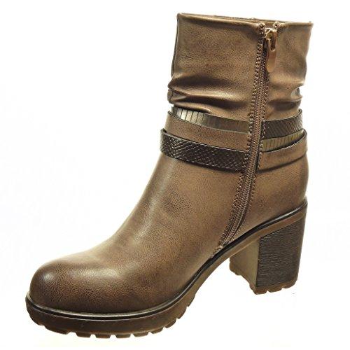 Angkorly - Scarpe da Moda Stivaletti - Scarponcini low boots zeppe donna pelle di serpente tanga fibbia Tacco a blocco tacco alto 7 CM - soletta Foderato di Pelliccia - Khaki
