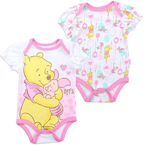 Disney Baby Girls' Winnie the Pooh Creeper 2-Pack, White (3/6M)