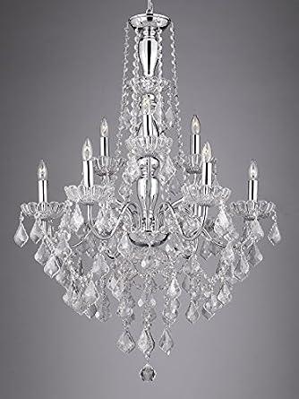 Crystal Chandelier New Elegant Lighting, 9 Lights, H36 X Wd 26 Ceiling Fixture Pendant Lamp