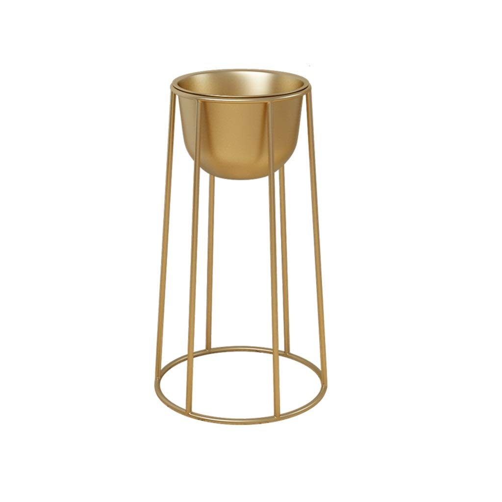 GJH-flowers stand Simple High Temperature Painted Wrought Iron Flower Stand, Nordic Living Room Bedroom Floor Type Multi-Function Rack (Color : Gold, Size : 77x40cm) by GJH-flowers stand