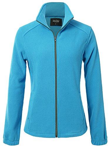 JayJay Women Ultra Soft Breathable Full-Zip Fleece Long Sleeve Jacket,SkyBlue,2XL