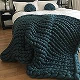personalized baby blanke - 200x200cm Chunky Knit Blanket Handmade Soft Knitting Throw Blanket Merino Wool Arm Knitted Throw Pet Bed Chair Sofa Yoga Mat Rug,Dark Green