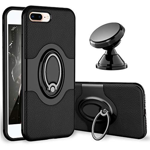 iPhone 7 Plus Case, iPhone 8 Plus Case - eSamcore Ring Holder Kickstand Cases + Dashboard Magnetic Phone Car Mount for iPhone 7/8 Plus [Black]