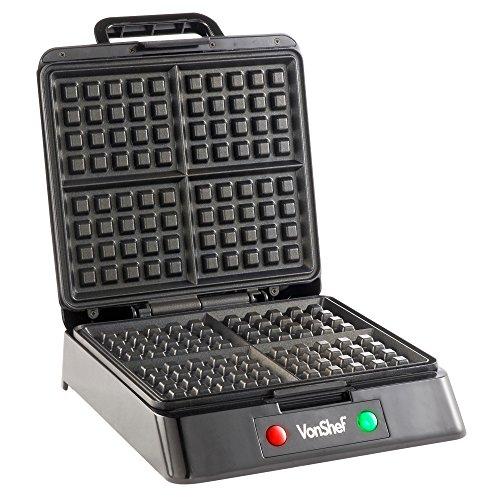 from usa vonshef quad belgian waffle maker 1200 watt. Black Bedroom Furniture Sets. Home Design Ideas