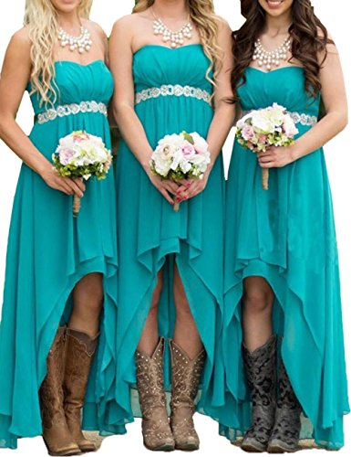 Honey Qiao Turquoise Chiffon Bridesmaid Dresses Long Hilo Crystals Sash Formal Gowns -