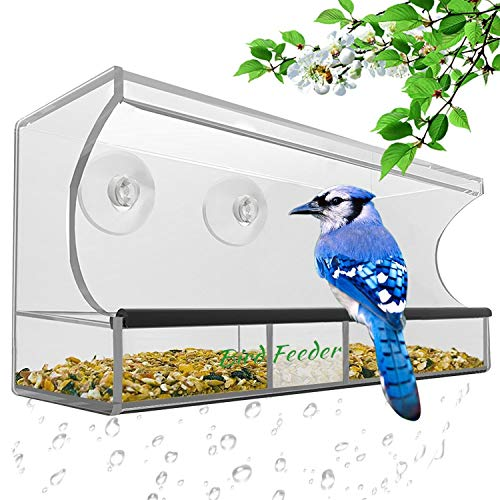 AnTom Window Bird Feeder,Bird House Crystal Clear Acrylic with Removable Tray, Drain Holes and 3 Heavy Duty Suction Cups with Hooks,Weatherproof Design,Drains Rain Water