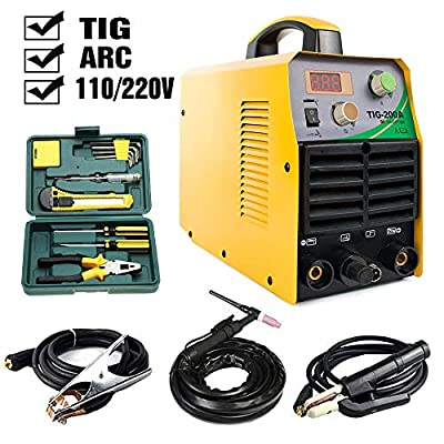 TOSENBA Tig Welder Tig/Arc/Stick Tig Welding Machine Dual Voltage 110/220V DC 200Amp Inverter IGBT MMA Digital Display Free Tool Kit