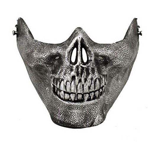 RoseSummer Halloween Skull Mask Half Face Cosplay Costume Supplies(antique sliver)