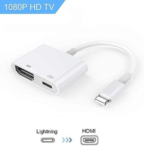 Dansrueus Adaptador HDMI Digital convertidor Nueva edición 2 en 1 Plug and Play Conector AV Digital Compatible para iPhone X, 8/7/Plus iPad iPod: Amazon.es: Electrónica