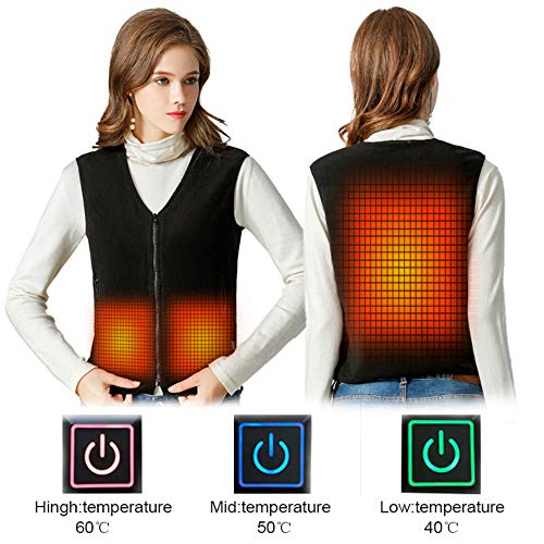 Women Vest Heated Outdoor Electric Thermal Waistcoat Clothing for USB Infrared Heating Vest Jacket (Battery NOT Included)
