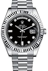 Rolex Day Date II Automatic Black Dial 18kt White Gold Mens Watch 218239BKRP