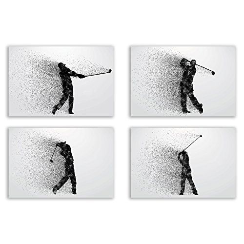 Golf Wall Art Prints - Particle Silhouette – Set of 4 (8x10) Poster Photos - Man Cave - Bedroom (Art Silhouette Set)