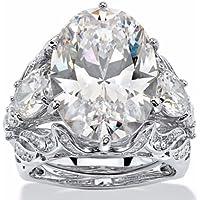 Nongkhai shop 925 Sterling Silver Elegant White Sapphire Wedding Jewelry Engagement Ring Set (7)