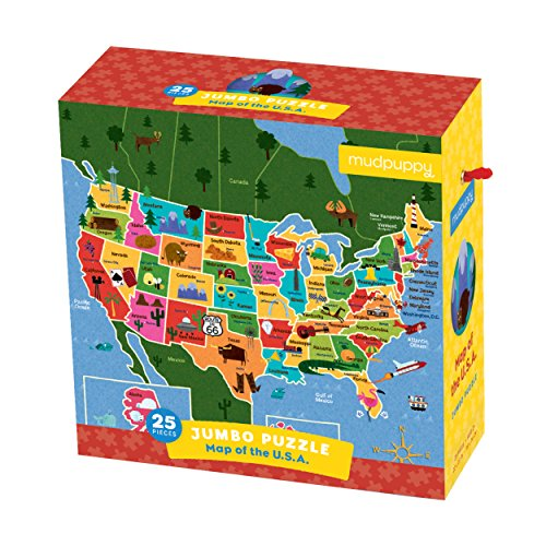 Mudpuppy Map of the U.S.A. Jumbo Puzzle, 25 Large Pieces, 22x22