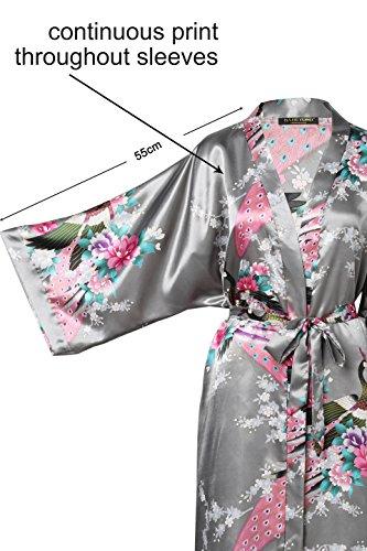 ArtiDeco Vestido Kimono Pijama de Seda Novia Kimono de Seda Ropa de dormir de Satén Estampado Pavo Real Gris