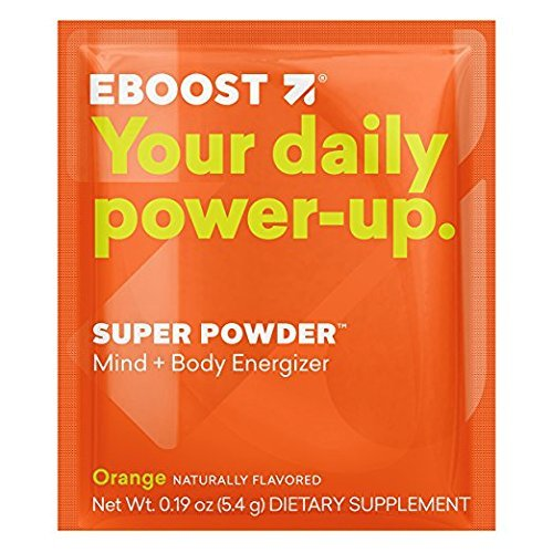 EBOOST Super Powder Mind + Body Energizer, Orange Flavor | Blend of Vitamins, Electrolytes & Antioxidants for Steady Energy and Focus [New 2018 Version] (20 Count)