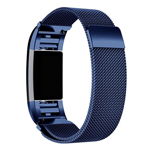 Price comparison product image Alonea Milanese Stainless Steel Watch Band Strap Bracelet + HD Film For Fitbit Charge 2 (Blue)