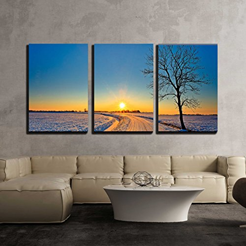 "wall26 - 3 Piece Canvas Wall Art - Sunset in a Cold White Winter Landscape - Modern Home Art Stretched and Framed Ready to Hang - 24""x36""x3 Panels"