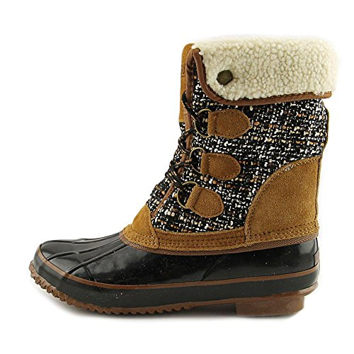 Khombu Womens Jenna Fabric Closed Toe Mid-Calf Cold Weather Boots Black/Tan gvvlYb5