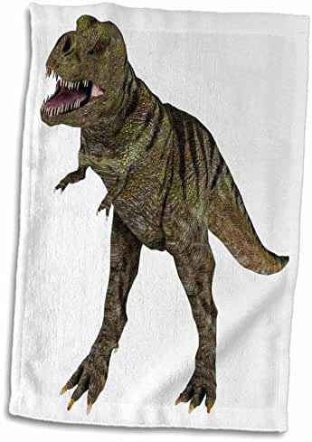 3dRose Boehm Graphics Dinosaur - A Tyrannosaurus Rex dinosaur attacking - 12x18 Hand Towel (twl_178774_1)