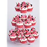 "YestBuy 3 Tier Round Cake Stand (3 Tier Round with Base(4.7"" between 2 layers))"