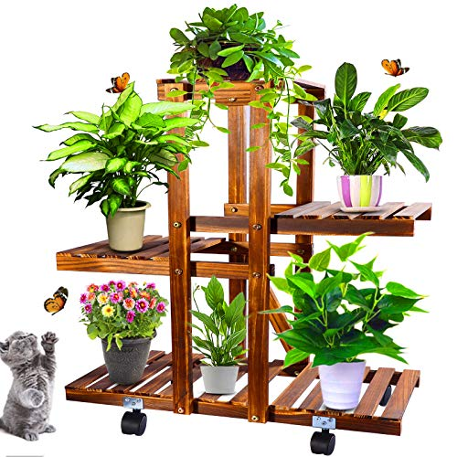Wood Plant Stand Indoor Outdoor with Wheels, Multi Tier Plant Display Rack Flower Shelf 26 Inch for Living Room Garden Corner Patio Yard Balcony Bedroom