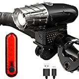 PAGAO USB Rechargeable Bike Light Set,Super Bright Bicycle Headlight and Taillight,Waterproof LED Front