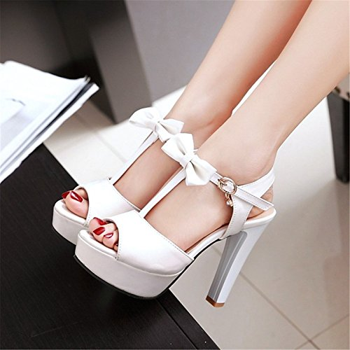 Peep Estate similpelle in per di sandali Pink Scarpe ZHZNVX di materiali Bianco Novità Matrimoni Heel da toe personalizzati donna Chunky carriera Comfort Ufficio 6A6nIqg8