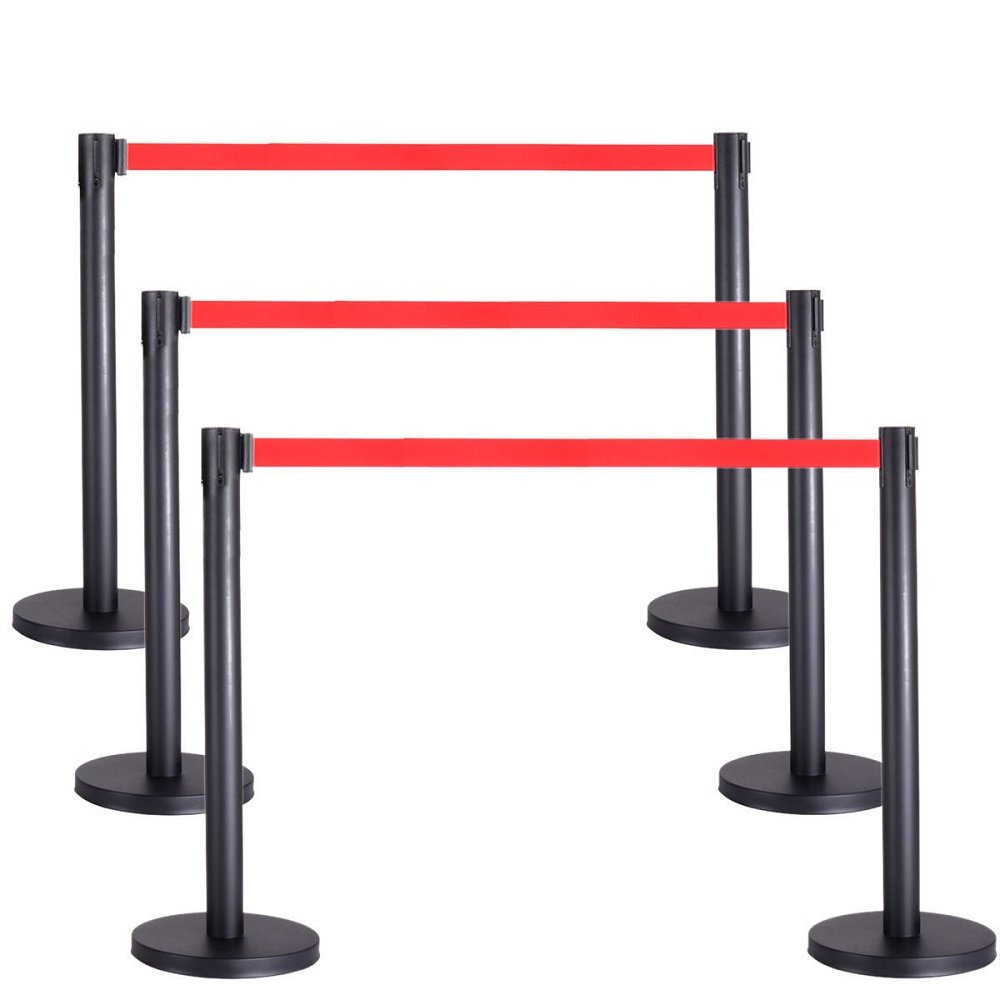 6 Pcs. Belt Retractable Crowd Control Stanchion Barrier Posts Queue Pole, Black