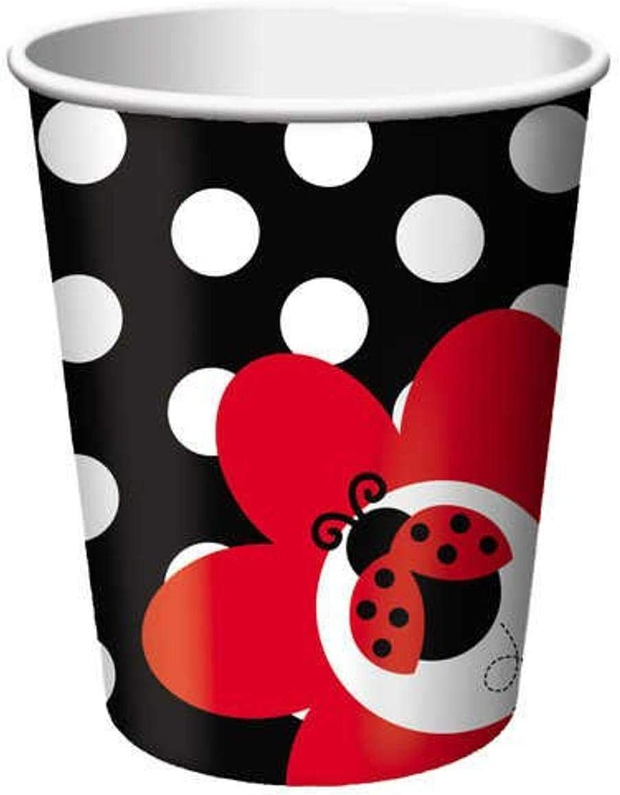 Creative Converting Ladybug Fancy Hot or Cold Beverage Cups, 8-Count, One Size