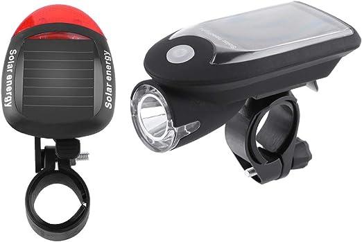 Luces de Bicicleta Delantera y Trasera Carga solar/USB Bicicleta Noche Ciclismo Faro LED 240LM + luz trasera - Instalación Fácil - Bici de Carretera o Montaña - Matefielduk: Amazon.es: Iluminación