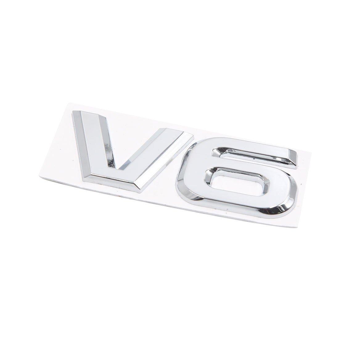 sourcing map Metal Cromado Logo V6 Etiqueta 3D Emblema Engomada Pegatina de Veh/ículo Coche